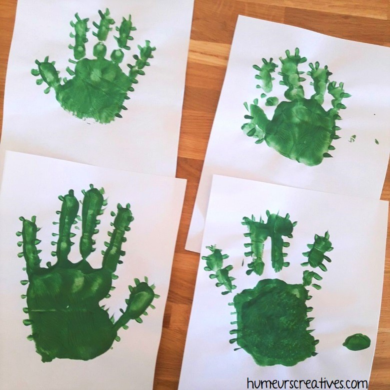 empreinte de main en vert pour faire un cactus