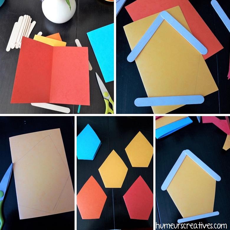 découper la forme de la carte pour former une cabane