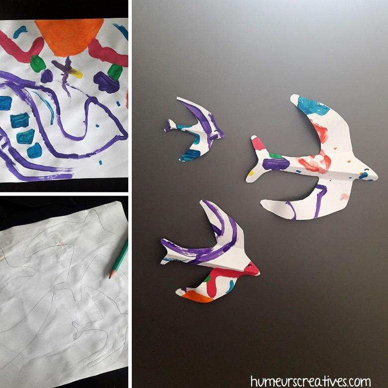 oiseaux en papier réalisé par les enfants