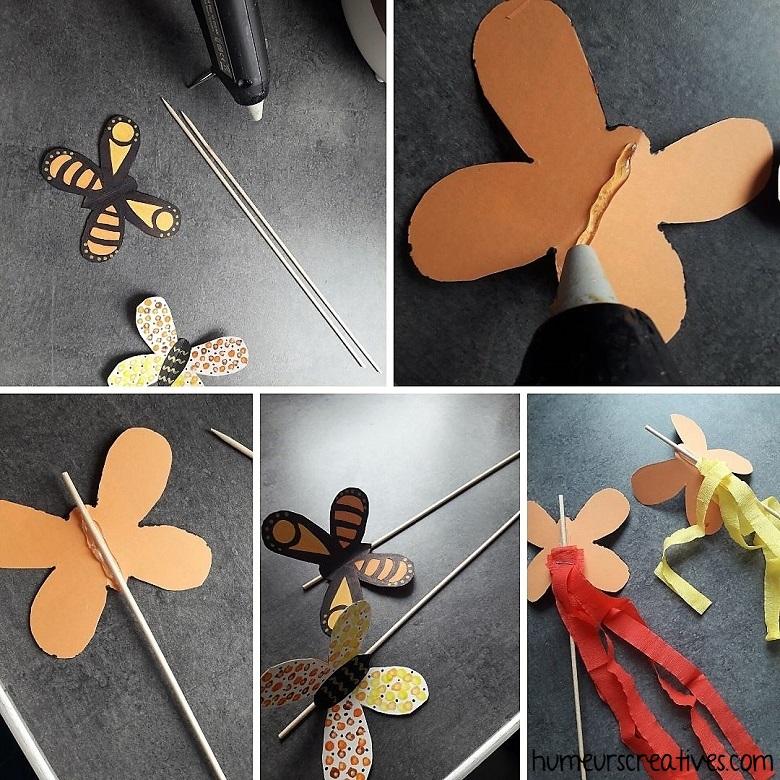 assemblage des papillons sur le pic en bois