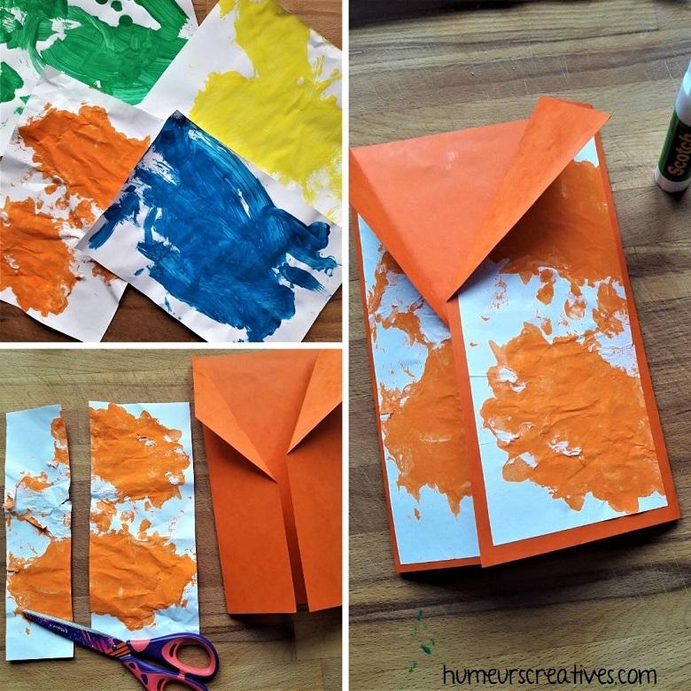 peinture des enfants pour décorer la carte chemise