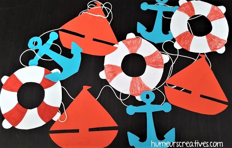 guirlande en papier sur le thème de la mer