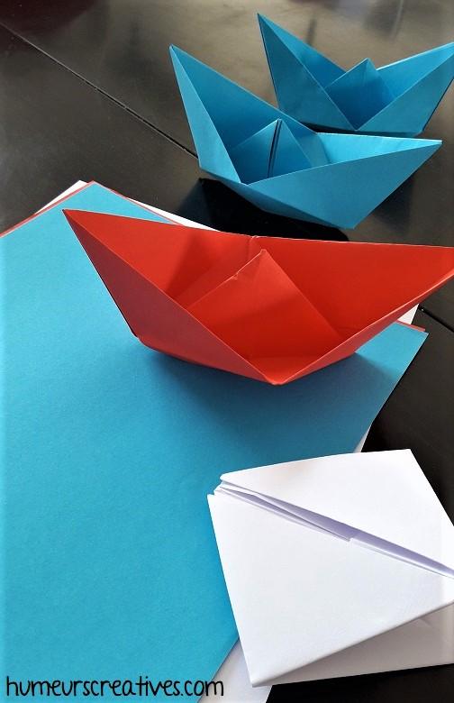 bateau en origami en guise de petits ramequins apéros