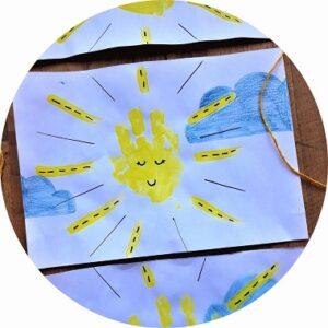 Bricolage pour enfant : soleil en empreinte de main