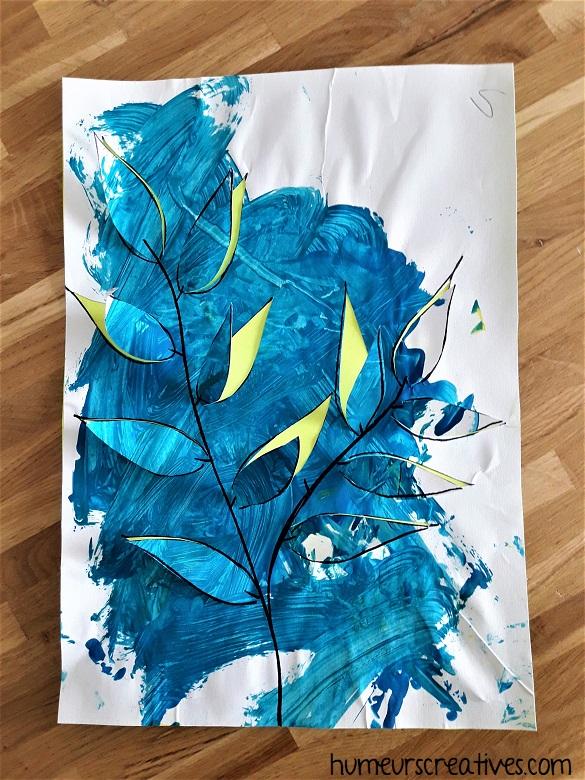 tableau feuillage bleu