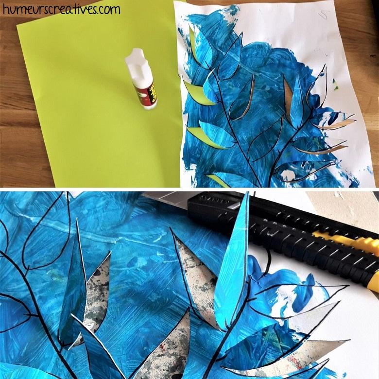 découper le contour des feuilles et coller sur un fond
