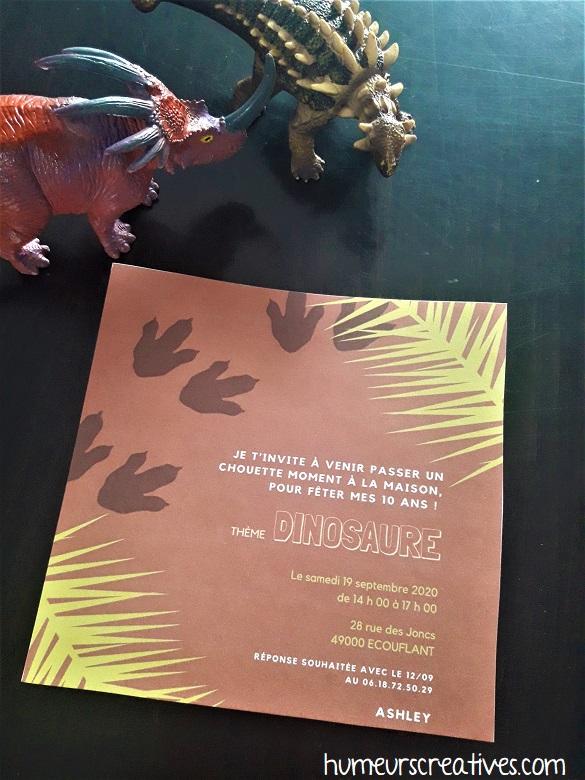 carton d'invitation dinosaure / jurassic park