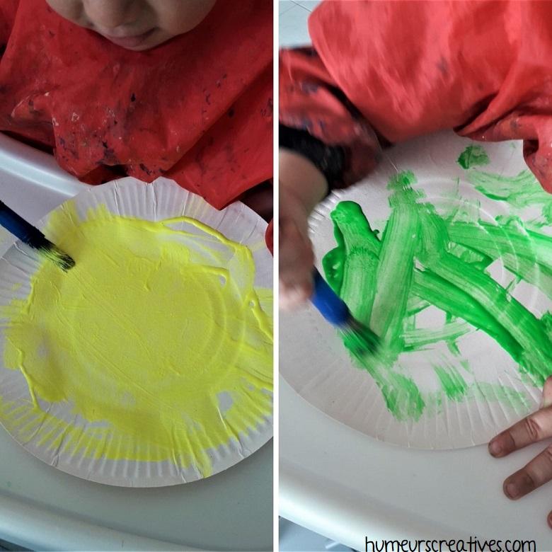 peinture sur assiette en carton