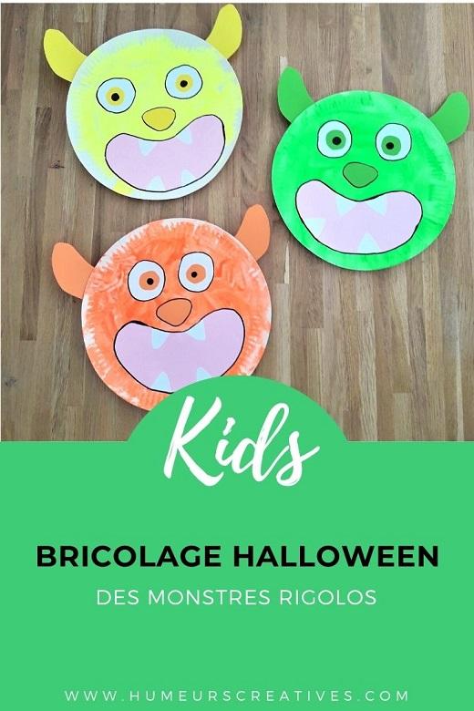 Bricolage d'halloween pour enfants : un monstre rigolo réalisé avec une assiette en carton