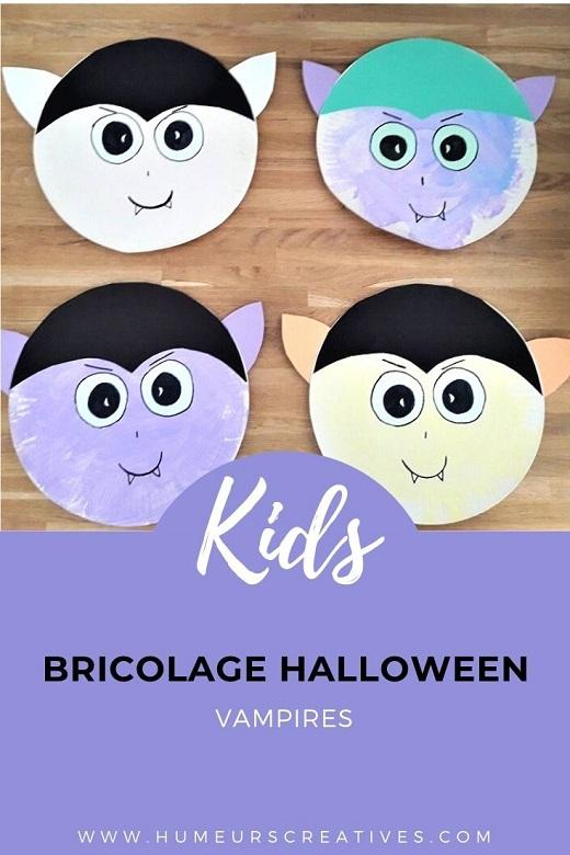 Bricolage d'halloween pour enfants : un vampire avec une assiette en carton