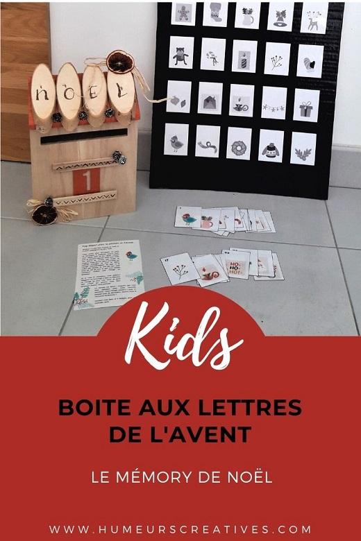 Boite aux lettres de l'avent : jeu de mémory de Noël (calendrier de l'avent pour enfants)