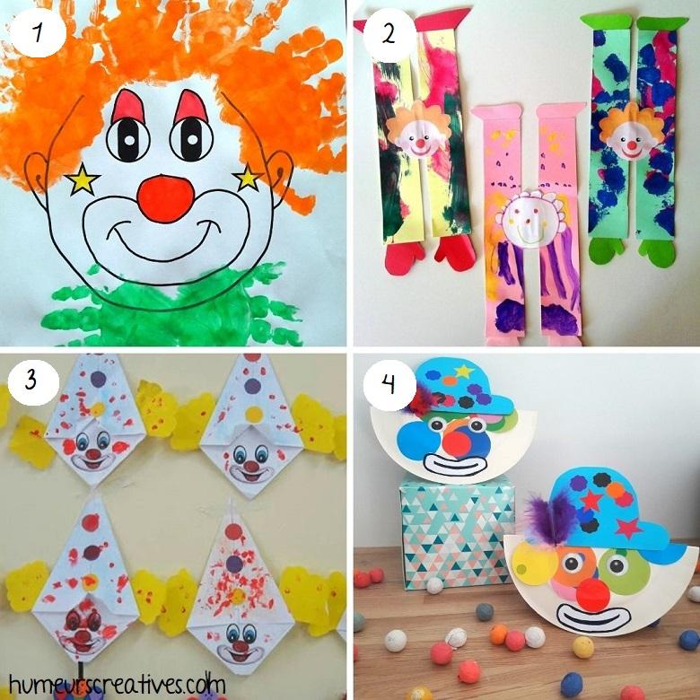 Bricolages de clowns a faire avec les enfants