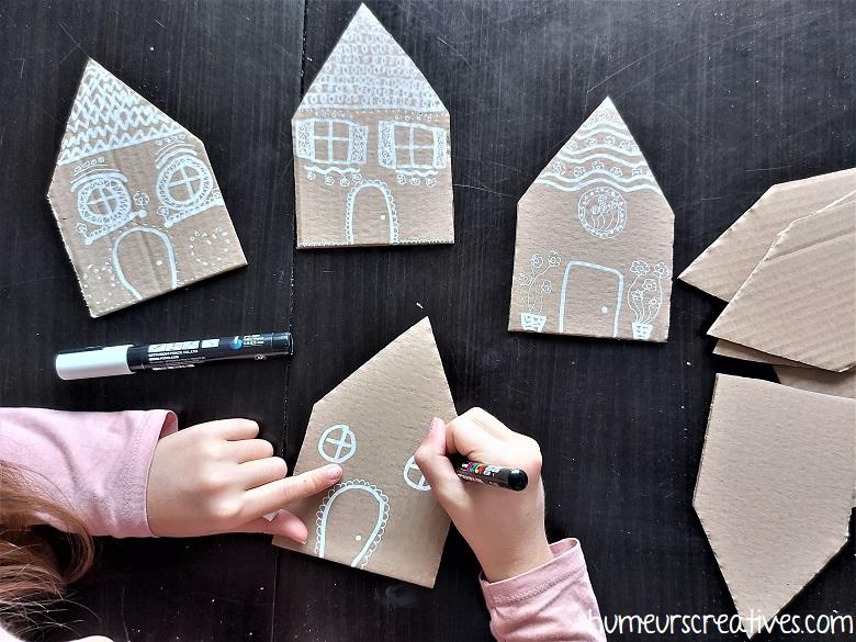 décorer des maisons en carton avec des posca