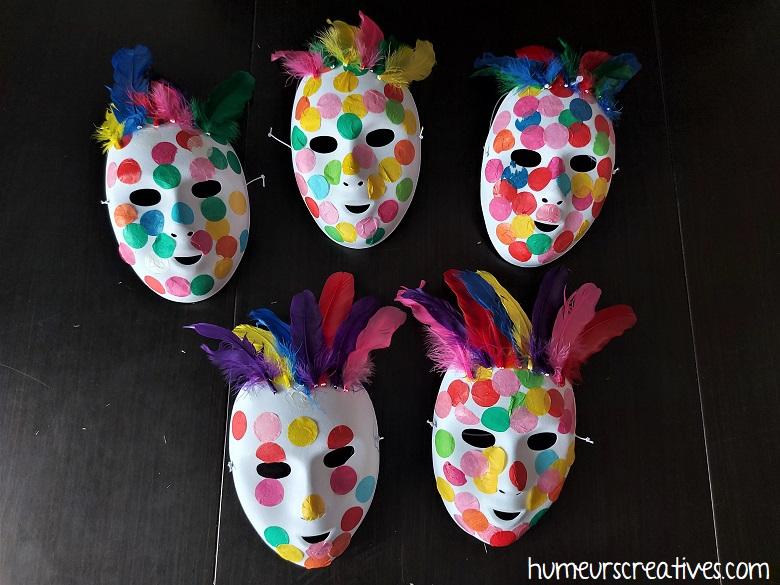 masques de carnaval réalisés avec les enfants