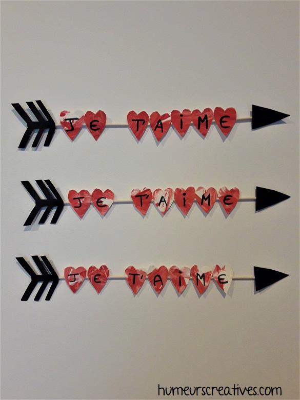 flèche de cupidon réalisé avec les enfants