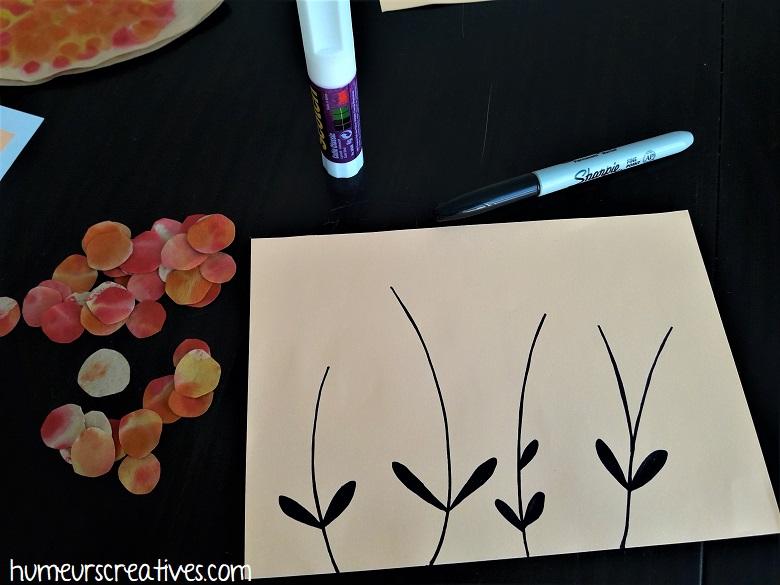 dessiner les tiges des fleurs