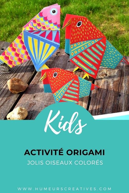 Activité origami avec les enfants : jolis oiseaux