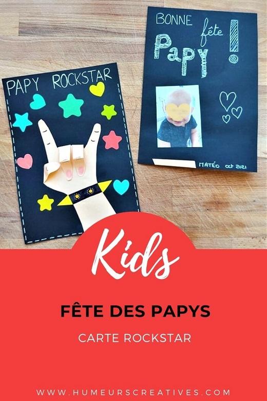 Carte fait maison pour la fête des Papys : une carte Rockstar avec empreinte de main