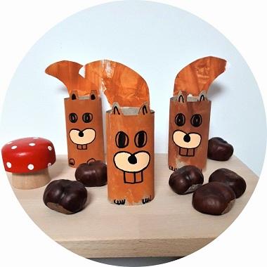 Activité manuelle : écureuil fabriqué avec un rouleau en carton