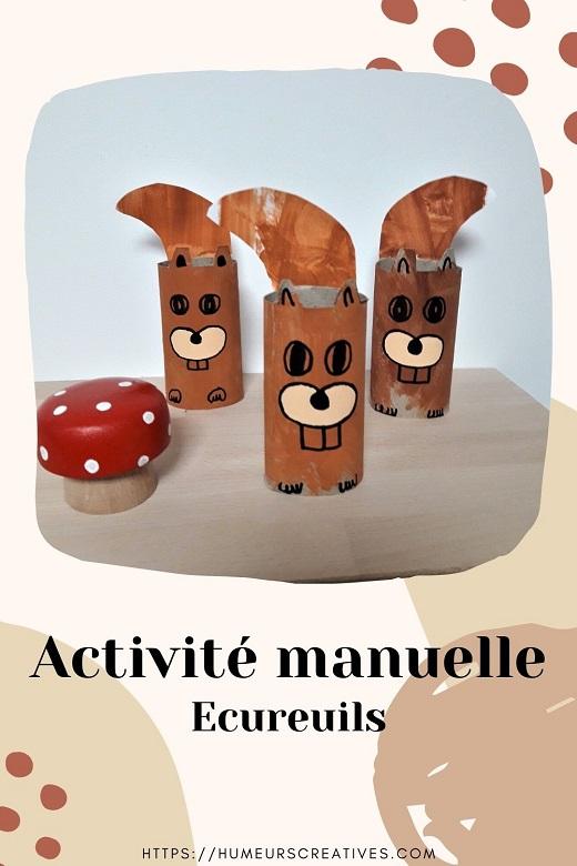 Bricolage pour enfants : écureuil fabriqué avec un rouleau en carton