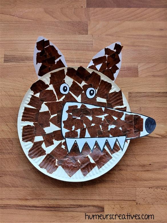 Loup réalisé avec une assiette en carton