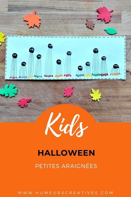 Bricolage d'Halloween : des araignées en empreintes de doigts